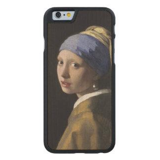 Chica con un pendiente de la perla de Juan Vermeer Funda De iPhone 6 Carved® De Arce