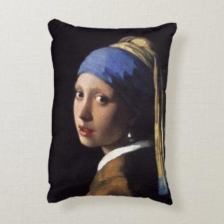 Chica con un pendiente de la perla de Juan Vermeer Cojín Decorativo