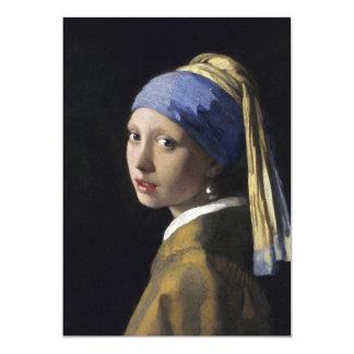 Chica con un pendiente de la perla de Juan Vermeer Invitación Personalizada