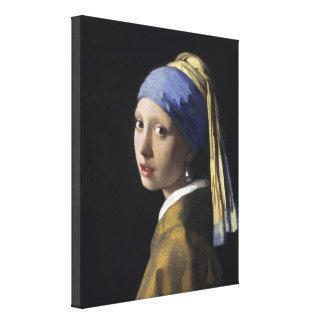 Chica con un pendiente de la perla de Juan Vermeer Lona Envuelta Para Galerias