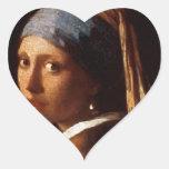 Chica con un pendiente de la perla de Juan Vermeer Calcomanía Corazón