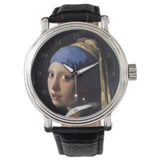 Chica con un pendiente de la perla de Juan Vermeer Reloj