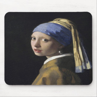 Chica con un pendiente de la perla de Juan Vermeer Alfombrillas De Ratones