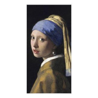 Chica con un pendiente de la perla de Juan Vermeer Tarjetas Fotograficas
