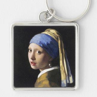 Chica con un pendiente de la perla, enero Vermeer Llavero Cuadrado Plateado