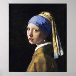 Chica con un pendiente de la perla, enero Vermeer Poster