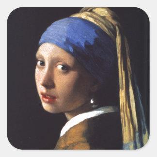 Chica con un pendiente de la perla, por Vermeer Pegatina Cuadrada