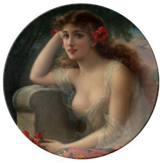 Chica con una amapola de Emilio Vernon Platos De Cerámica