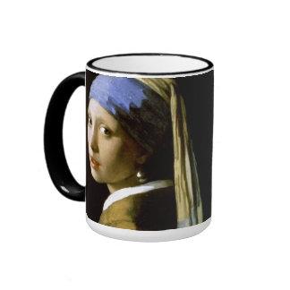 Chica con una bella arte de Vermeer del pendiente Taza De Dos Colores