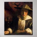 Chica con una flauta de Juan Vermeer Poster