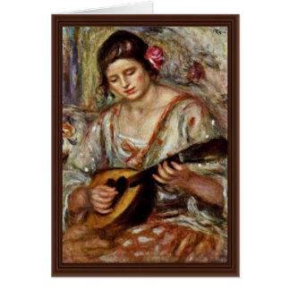 Chica con una mandolina de Pierre-Auguste Renoir Felicitación