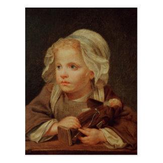 Chica con una muñeca tarjetas postales