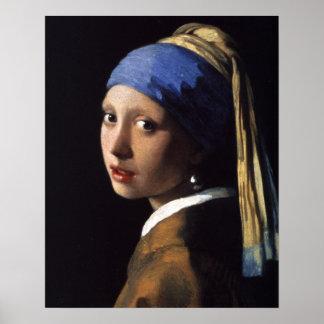 Chica con una pintura del pendiente de la perla po poster