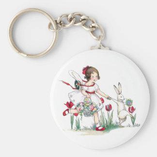 Chica, conejo y flores de Pascua Llavero Redondo Tipo Pin