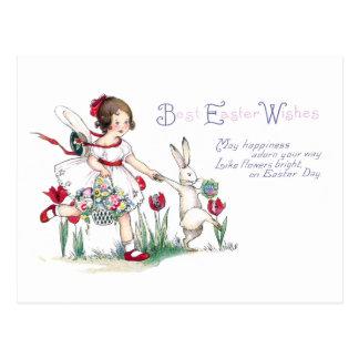 Chica, conejo y flores de Pascua Postal