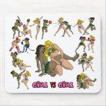 Chica contra el cojín de ratón de lucha del chica tapetes de raton