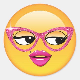 Chica coqueto ID227 de Emoji Pegatina Redonda