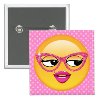 Chica coqueto ID227 de Emoji Pin Cuadrado