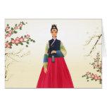 Chica coreano en hanbok felicitación
