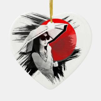 chica cosmopolita de Japón en Kyoto Adorno Navideño De Cerámica En Forma De Corazón