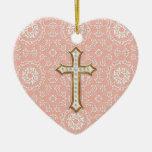 Chica cruzado de oro del cordón del primer oro adorno navideño de cerámica en forma de corazón