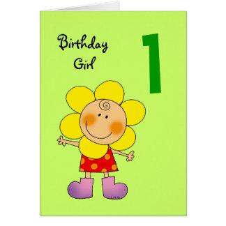 Chica de 1 año del cumpleaños tarjeta de felicitación