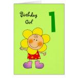 Chica de 1 año del cumpleaños tarjetón