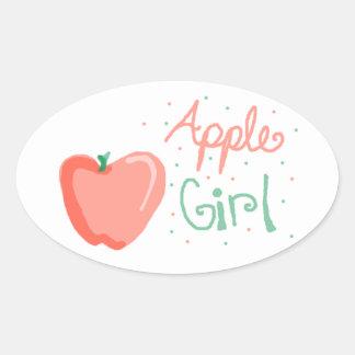 Chica de Apple Calcomanías De Ovales Personalizadas