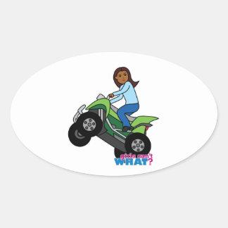 Chica de ATV Pegatina Ovalada
