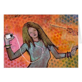 Chica de baile con la tarjeta de felicitación de