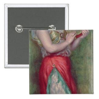 Chica de baile con Tambourine, 1909 Pin Cuadrado
