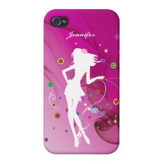 Chica de baile de la moda con el fondo rosado el | iPhone 4/4S fundas