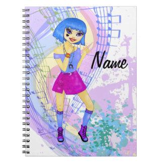 Chica de baile del animado del manga del modelo de libreta