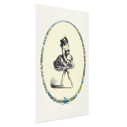 Chica de baile hermoso del vintage impresion en lona