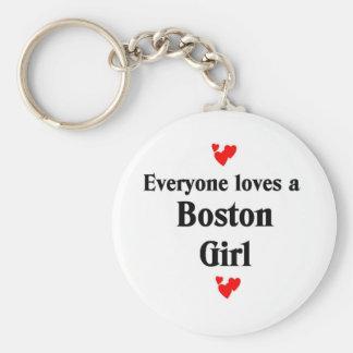 Chica de Boston Llavero Redondo Tipo Pin