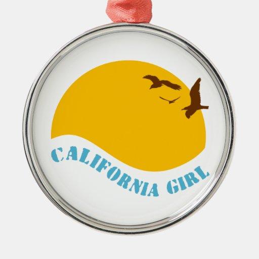 Chica de California Adorno Redondo Plateado