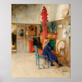 Chica de Carl Larsson con la rueda de hilado Póster