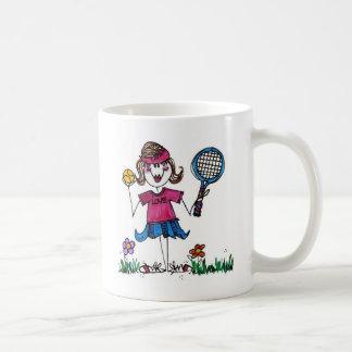 Chica de cerámica del tenis del Taza-Palillo Taza De Café