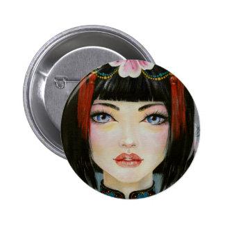 Chica de China con los ojos del azul Pins