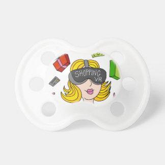 Chica de compras de la realidad virtual chupetes