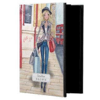Chica de compras en caso del aire 2 del iPad de la