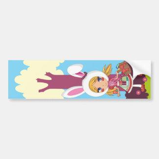 Chica de conejito pegatina de parachoque