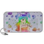 Chica de conejito del animado del arco iris iPod altavoces