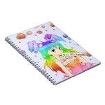 Chica de conejito del animado del arco iris libro de apuntes
