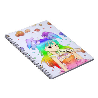 Chica de conejito del animado del arco iris libro de apuntes con espiral