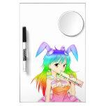 Chica de conejito del animado del arco iris pizarra