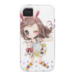Chica de conejito lindo con los calcetines del arc Case-Mate iPhone 4 carcasas