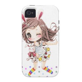 Chica de conejito lindo con los calcetines del iPhone 4 carcasa