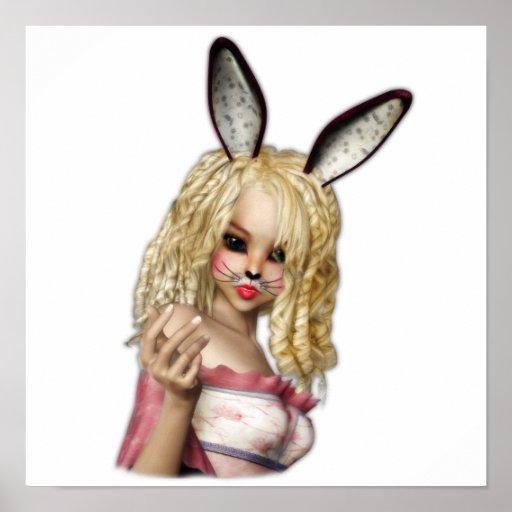 Chica de conejito lindo posters
