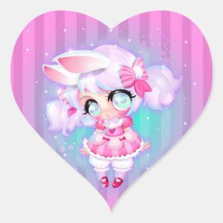 Chica de conejito pegatina en forma de corazón